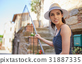 beautiful girl in a hat in a white t-shirt and hat 31887335