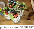 Fried shrimp Kofta kebabs on wooden tray 31888107