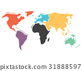 Multicolored simplified world map divided to 31888597