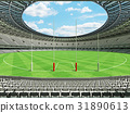 Australian rules football stadium with white seats 31890613