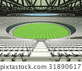 Australian rules football stadium with white seats 31890617