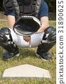 baseball catcher showing secret signal gesture 31890625