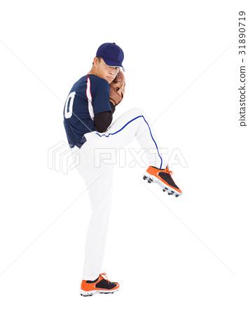 baseball player pitcher ready pose throwing ball 31890719