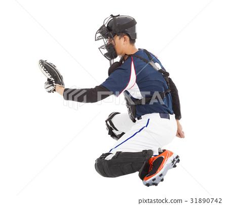 Catcher,  kneeling gesture  to catching 31890742
