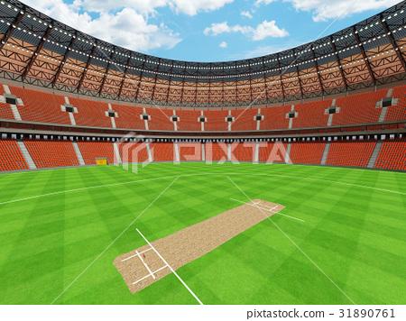 Beautiful modern cricket stadium with orange seats 31890761