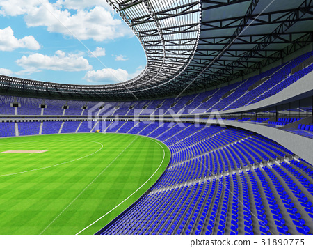 Beautiful modern cricket stadium with blue seats 31890775