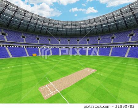 Beautiful modern cricket stadium with blue seats 31890782
