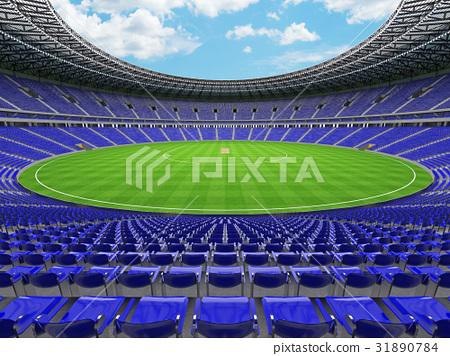 Beautiful modern cricket stadium with blue seats 31890784