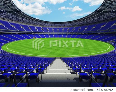 Beautiful modern cricket stadium with blue seats 31890792