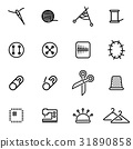 Vector illustration of thin line icons - sewing 31890858