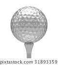 3D rendering Isolated metal golf Ball on tee 31893359