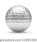 3D rendering Isolated metal golf Ball with white 31893360