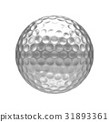 3D rendering Isolated metal golf Ball with white 31893361