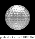 3D rendering Isolated metal golf Ball on black 31893362