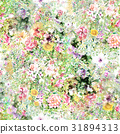 Watercolor painting of leaf and flowers pattern 31894313