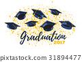 Vector illustration of graduate caps and confetti 31894477