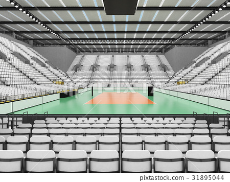 Beautiful modern volleyball arena with white seats 31895044