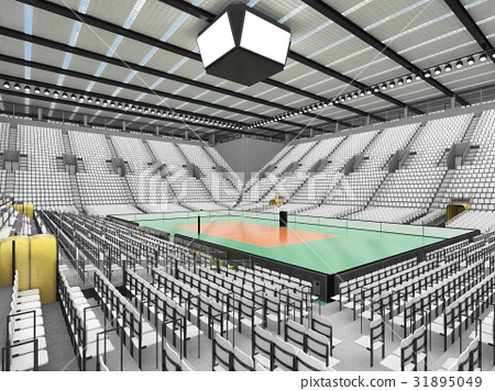 Beautiful modern volleyball arena with white seats 31895049