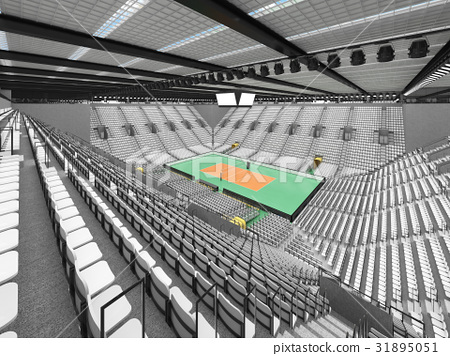 Beautiful modern volleyball arena with white seats 31895051