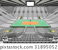 Beautiful modern volleyball arena with white seats 31895052