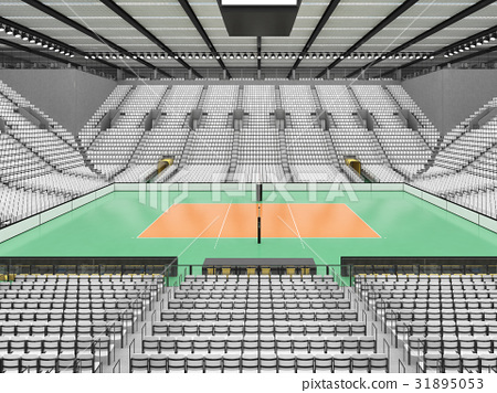 Beautiful modern volleyball arena with white seats 31895053