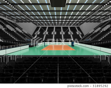 Beautiful modern volleyball arena with black seats 31895292