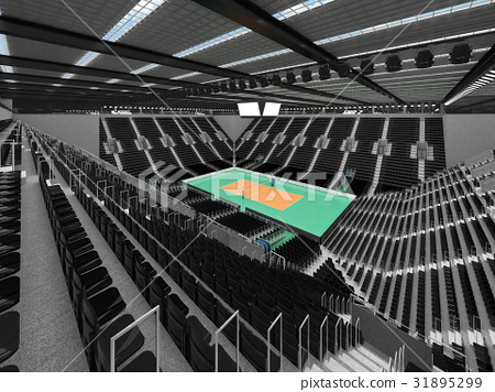 Beautiful modern volleyball arena with black seats 31895299