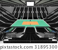 Beautiful modern volleyball arena with black seats 31895300