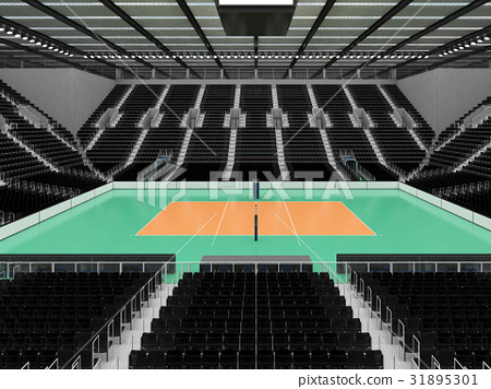 Beautiful modern volleyball arena with black seats 31895301
