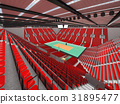 Beautiful modern volleyball arena with red seats 31895477