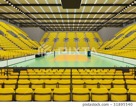 Beautiful empty volleyball arena with yellow seats 31895540