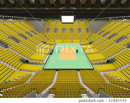Beautiful empty volleyball arena with yellow seats 31895545