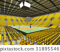 Beautiful empty volleyball arena with yellow seats 31895546