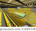 Beautiful empty volleyball arena with yellow seats 31895548