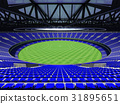 Australian rules football stadium with blue seats 31895651