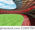Australian rules football stadium with red seats 31895784