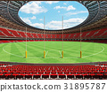Australian rules football stadium with red seats 31895787