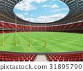 Australian rules football stadium with red seats 31895790
