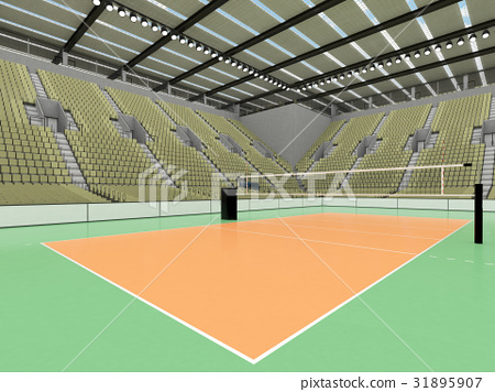 Beautiful volleyball arena with olive green seats 31895907