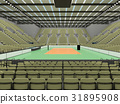 Beautiful volleyball arena with olive green seats 31895908