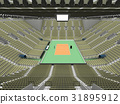 Beautiful volleyball arena with olive green seats 31895912