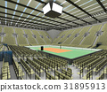 Beautiful volleyball arena with olive green seats 31895913