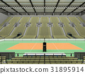 Beautiful volleyball arena with olive green seats 31895914