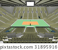 Beautiful volleyball arena with olive green seats 31895916