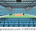 Sports arena for volleyball with sky blue seats 31895958