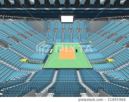 Sports arena for volleyball with sky blue seats 31895966