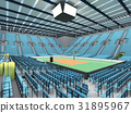 Sports arena for volleyball with sky blue seats 31895967