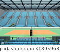 Sports arena for volleyball with sky blue seats 31895968