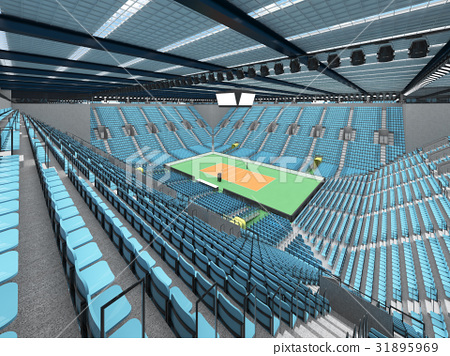 Sports arena for volleyball with sky blue seats 31895969