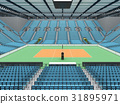 Sports arena for volleyball with sky blue seats 31895971